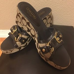 Coach wedges size 8. NWOT